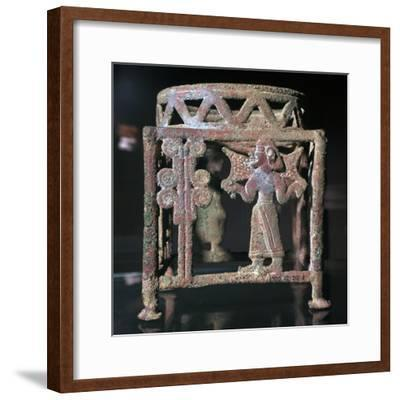 Cyprian bronze stand with open-work figures, 17th century BC-Unknown-Framed Giclee Print