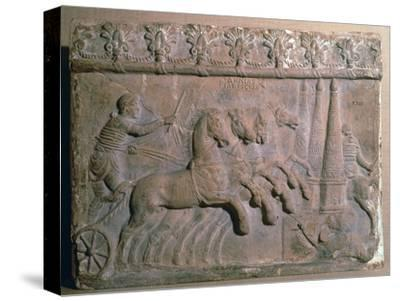 Roman terracotta panel showing a racing chariot-Unknown-Stretched Canvas Print