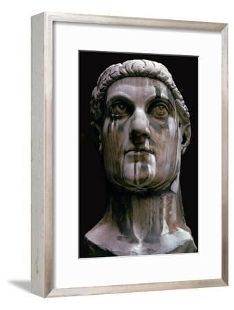 Stone head of a colossal statue of Constantine I, 3rd century-Unknown-Framed Giclee Print