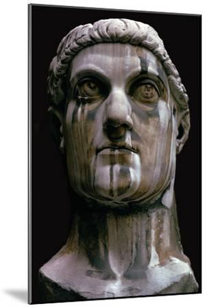 Stone head of a colossal statue of Constantine I, 3rd century-Unknown-Mounted Giclee Print