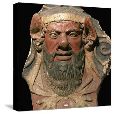 Etruscan terracotta head of a satyr-Unknown-Stretched Canvas Print