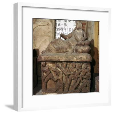 Etruscan sarcophagus showing a battle scene-Unknown-Framed Giclee Print