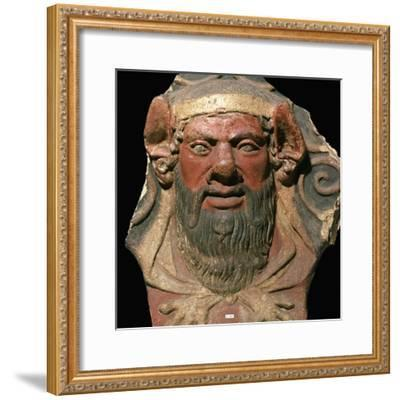 Etruscan terracotta head of a satyr-Unknown-Framed Giclee Print