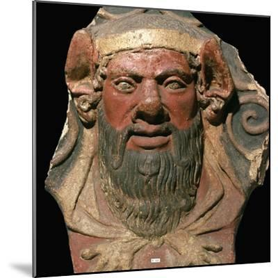 Etruscan terracotta head of a satyr-Unknown-Mounted Giclee Print