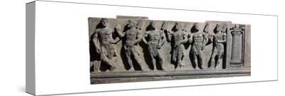 An indian sculpture of a group of marine deities, 1st century-Unknown-Stretched Canvas Print
