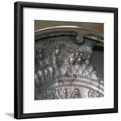 Detail of a Phoenician silver bowl showing soldiers attacking a city, 7th century BC-Unknown-Framed Giclee Print