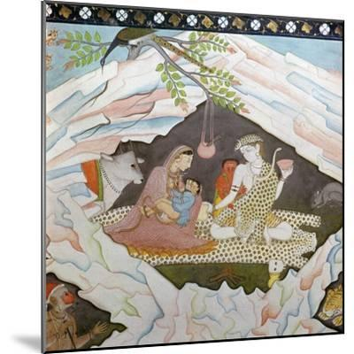 The holy family seated in a cave on Mount Kailasa-Unknown-Mounted Giclee Print