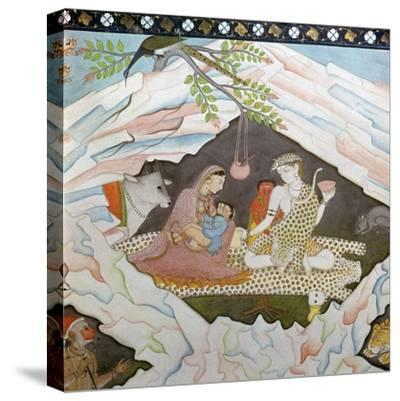 The holy family seated in a cave on Mount Kailasa-Unknown-Stretched Canvas Print