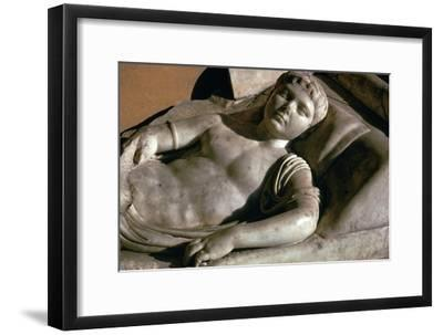 Portrait on the marble lid of a Roman sarcophagus, 1st century BC-Unknown-Framed Giclee Print