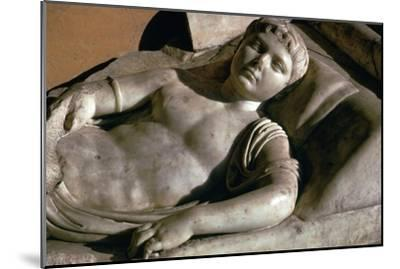 Portrait on the marble lid of a Roman sarcophagus, 1st century BC-Unknown-Mounted Giclee Print