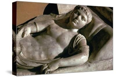 Portrait on the marble lid of a Roman sarcophagus, 1st century BC-Unknown-Stretched Canvas Print