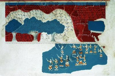 Fresco of the royal court of the Minoan palace at Knossos, 18th century BC-Unknown-Framed Giclee Print