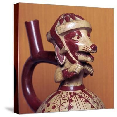 Mochicha stirrup-spout vessel, 1st century-Unknown-Stretched Canvas Print