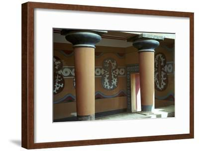 Fresco of shields in the grand stairway at Knossos, 18th century BC-Unknown-Framed Giclee Print
