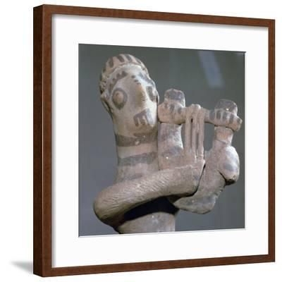 Minoan terracotta figure of a lyre-player, 8th century BC-Unknown-Framed Giclee Print