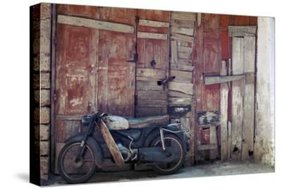 Motorcycle in the street in Khania-Unknown-Stretched Canvas Print
