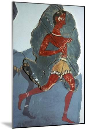 Fragment of a Minoan fresco known as the 'Captain of the Blacks', 15th century BC-Unknown-Mounted Giclee Print