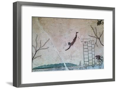 Wall painting from a Greek tomb at Paestum of a swimmer, 8th century-Unknown-Framed Giclee Print