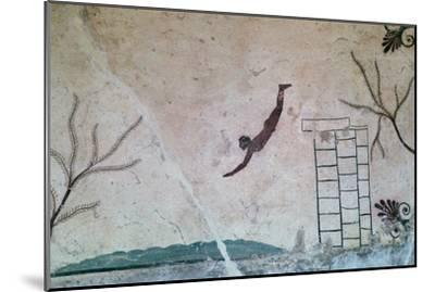 Wall painting from a Greek tomb at Paestum of a swimmer, 8th century-Unknown-Mounted Giclee Print