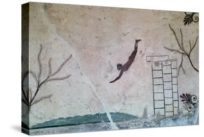 Wall painting from a Greek tomb at Paestum of a swimmer, 8th century-Unknown-Stretched Canvas Print