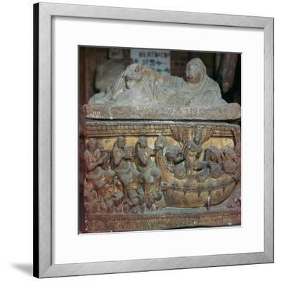 Detail of a sarcophagus showing Odysseus and the sirens-Unknown-Framed Giclee Print