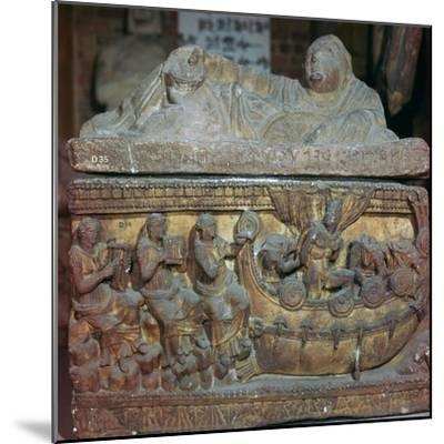 Detail of a sarcophagus showing Odysseus and the sirens-Unknown-Mounted Giclee Print