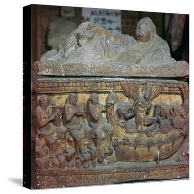 Detail of a sarcophagus showing Odysseus and the sirens-Unknown-Stretched Canvas Print