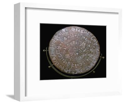 Phaestos Disc, from Minoan Royal Palace at Phaestos, 20th century BC-Unknown-Framed Giclee Print