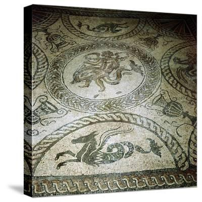 Seahorse and Cupid on Dolphin mosaic, Fishbourne Roman Villa, Sussex. Artist: Unknown-Unknown-Stretched Canvas Print