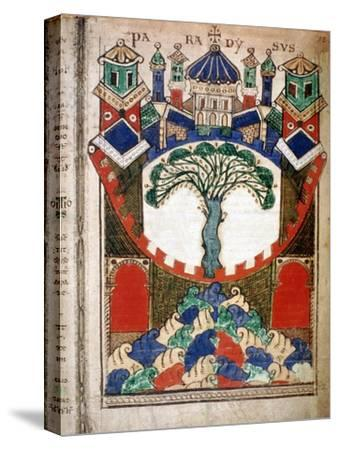 Paradise, a page from Liber Floridus, 12th century. Artist: Unknown-Unknown-Stretched Canvas Print