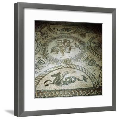 Seahorse and Cupid on Dolphin mosaic, Fishbourne Roman Villa, Sussex. Artist: Unknown-Unknown-Framed Giclee Print