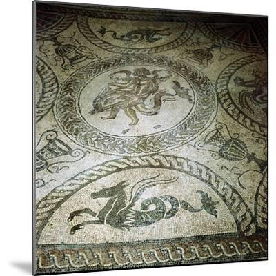 Seahorse and Cupid on Dolphin mosaic, Fishbourne Roman Villa, Sussex. Artist: Unknown-Unknown-Mounted Giclee Print