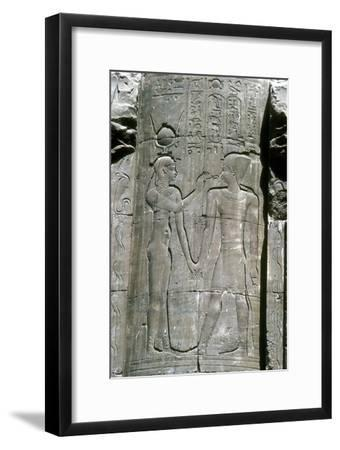 Relief of the goddess Hathor, Temple of Horus, Edfu, Egypt, Ptolemaic Period, c251 BC-c246 BC-Unknown-Framed Giclee Print