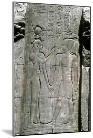 Relief of the goddess Hathor, Temple of Horus, Edfu, Egypt, Ptolemaic Period, c251 BC-c246 BC-Unknown-Mounted Giclee Print