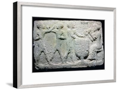 Baked clay plaque of two boxers fighting, while musicians play, from Larsa, Iraq, 2000BC-1750BC-Unknown-Framed Giclee Print