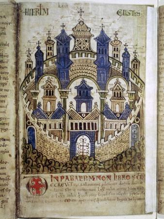 Heavenly Jerusalem, a page from Liber Floridus, 12th century. Artist: Unknown-Unknown-Framed Giclee Print