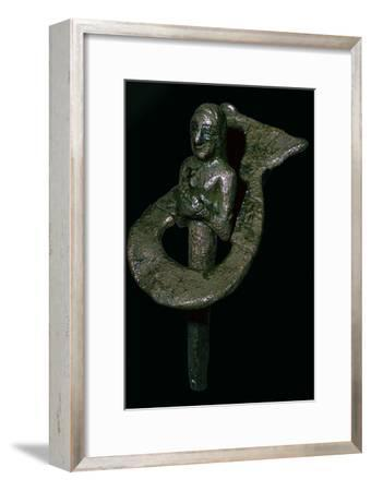 Copper foundation figurine ending in cone and plaque, Telloh, South Iraq, 2494BC-2465BC-Unknown-Framed Giclee Print