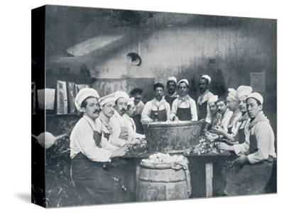 Some of the cooks preparing the soup at the Messagerie Van Gand, c1914-Unknown-Stretched Canvas Print