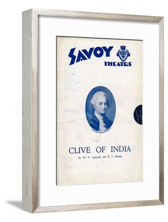 Clive of India programme for the Savoy Theatre, 1934-Unknown-Framed Giclee Print