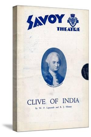 Clive of India programme for the Savoy Theatre, 1934-Unknown-Stretched Canvas Print