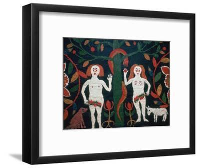 Swedish embroidery of Adam, Eve, and the serpent, 19th century. Artist: Unknown-Unknown-Framed Giclee Print