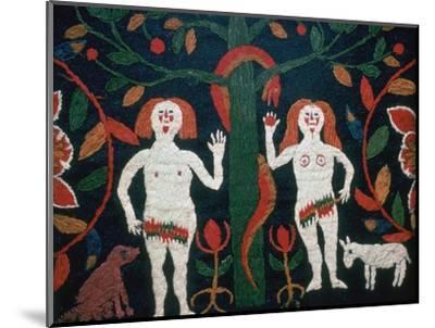 Swedish embroidery of Adam, Eve, and the serpent, 19th century. Artist: Unknown-Unknown-Mounted Giclee Print