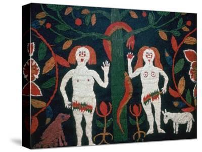 Swedish embroidery of Adam, Eve, and the serpent, 19th century. Artist: Unknown-Unknown-Stretched Canvas Print