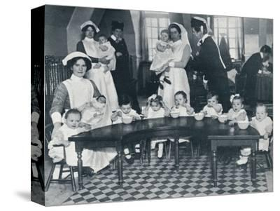 Kingsway Hall Creche for children with fathers at the war and mothers who are working, 1914-Unknown-Stretched Canvas Print