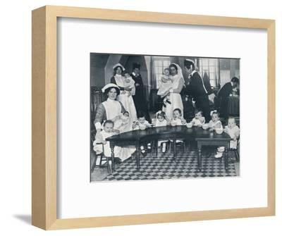 Kingsway Hall Creche for children with fathers at the war and mothers who are working, 1914-Unknown-Framed Photographic Print