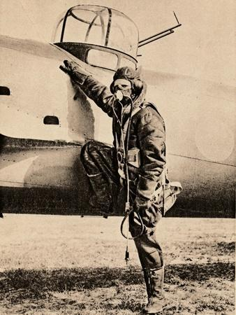 Fully Equipped for air fighting; oxygen, radio, electrically heated clothing and parachute, 1940-Unknown-Framed Photographic Print
