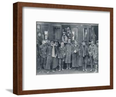 Wounded English troops on their way to a base hospital, c1914-Unknown-Framed Photographic Print