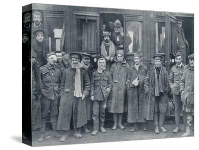 Wounded English troops on their way to a base hospital, c1914-Unknown-Stretched Canvas Print
