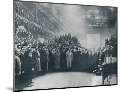 The Czar, taken among the workmen at the great Putiloff Munition and Engineering Works, 1914-Unknown-Mounted Photographic Print