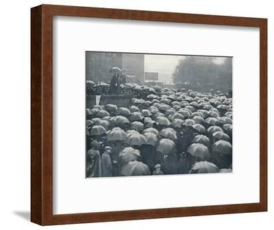 Meeting of London business men on Tower Hill, held after sinking of the Lusitania, c.1915-Unknown-Framed Photographic Print